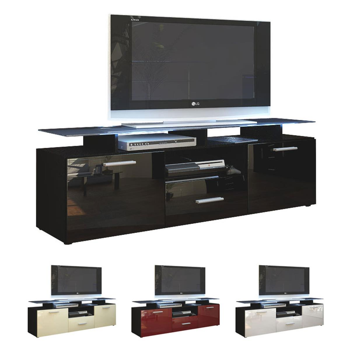 tv lowboard board schrank tisch almada in schwarz matt hochglanz naturt ne ebay. Black Bedroom Furniture Sets. Home Design Ideas