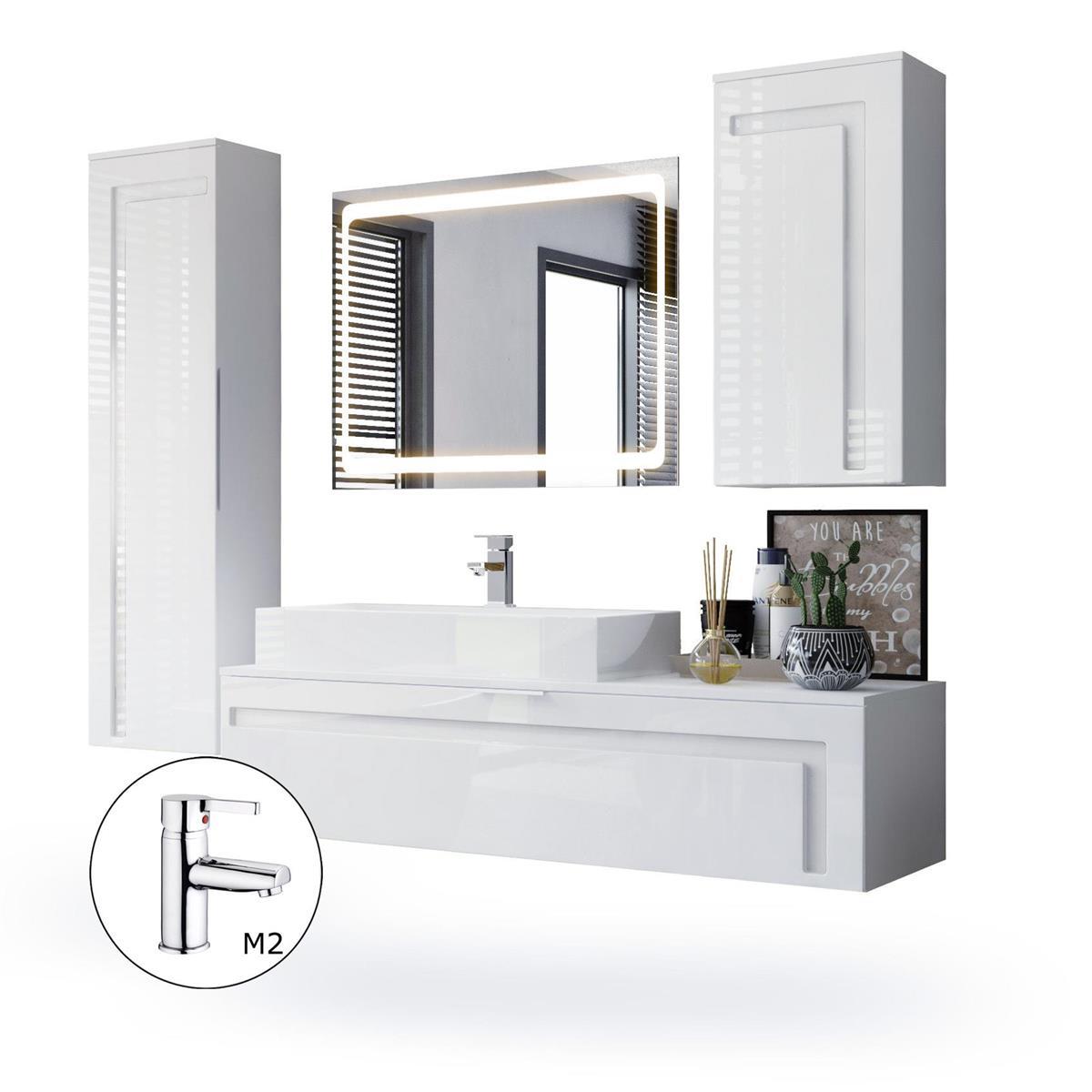 Details zu Badmöbel Komplett Set Weiß Badezimmer Spiegel LED Beleuchtung  Hochglanz Aloha