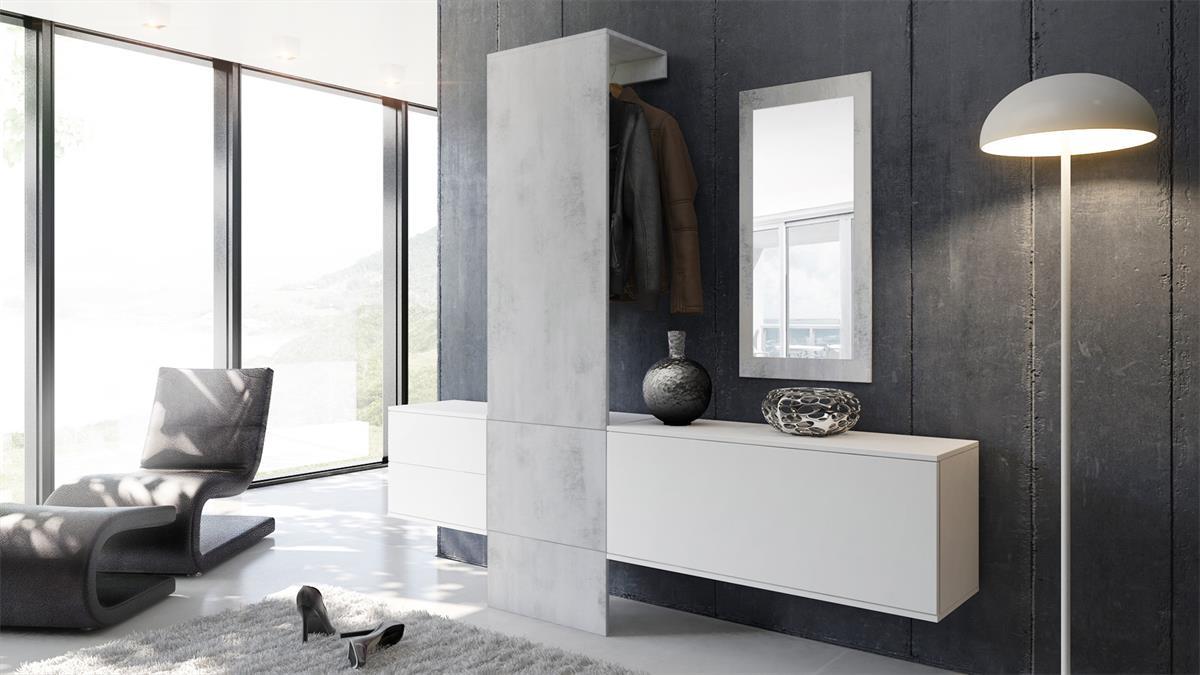garderobe garderobenset flur spiegel paneele carlton set 1 in beton oxid optik ebay. Black Bedroom Furniture Sets. Home Design Ideas