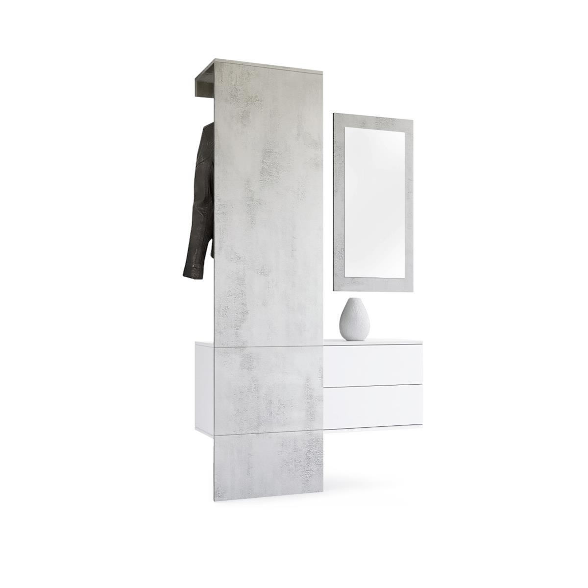 garderobe garderobenset flur spiegel paneele carlton set 2 in beton oxid optik ebay. Black Bedroom Furniture Sets. Home Design Ideas