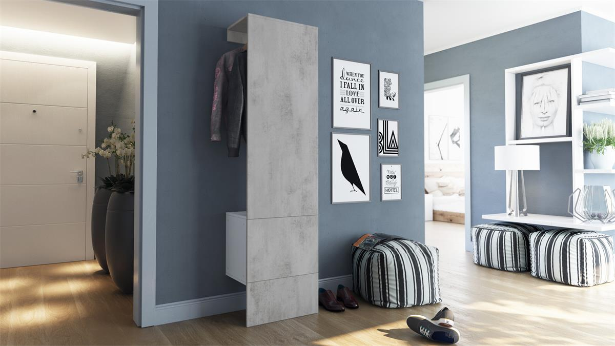 hallway furniture set wall coat rack carlton 5 in concrete grey oxid optic ebay