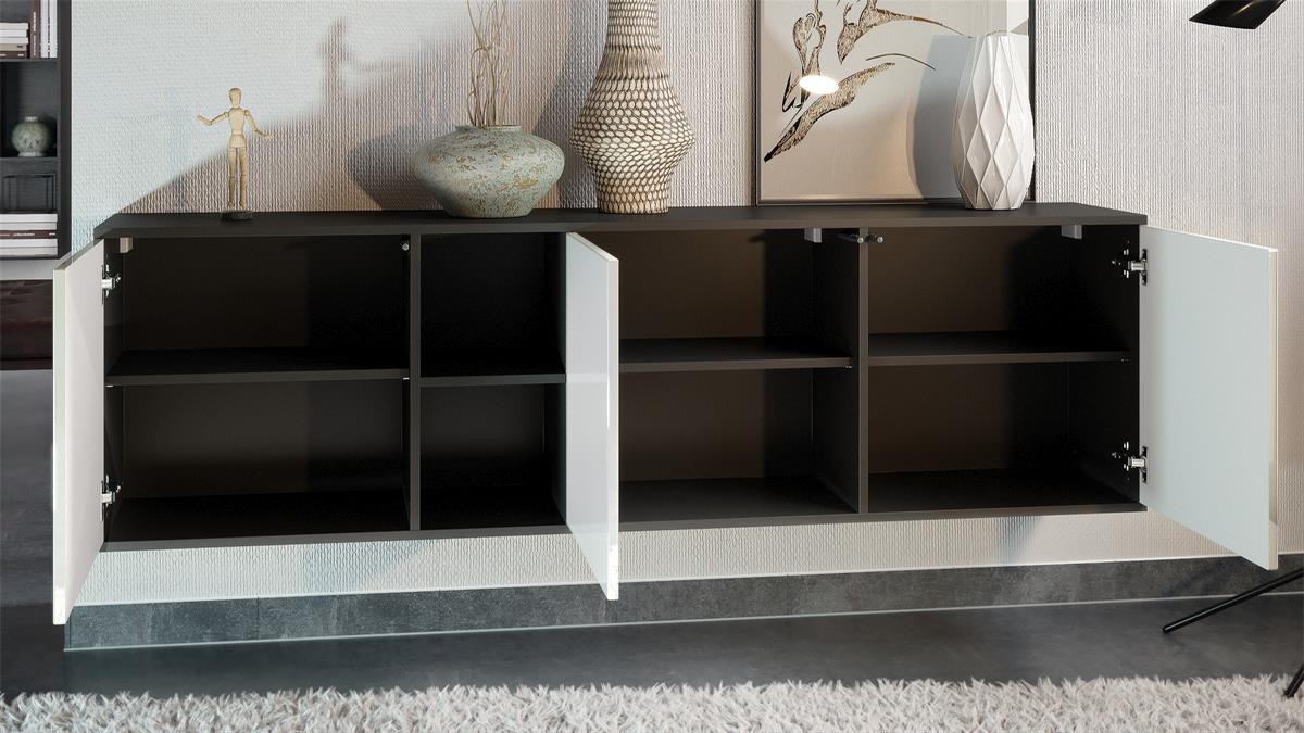 sideboard anrichte kommode led cuba in schwarz matt. Black Bedroom Furniture Sets. Home Design Ideas