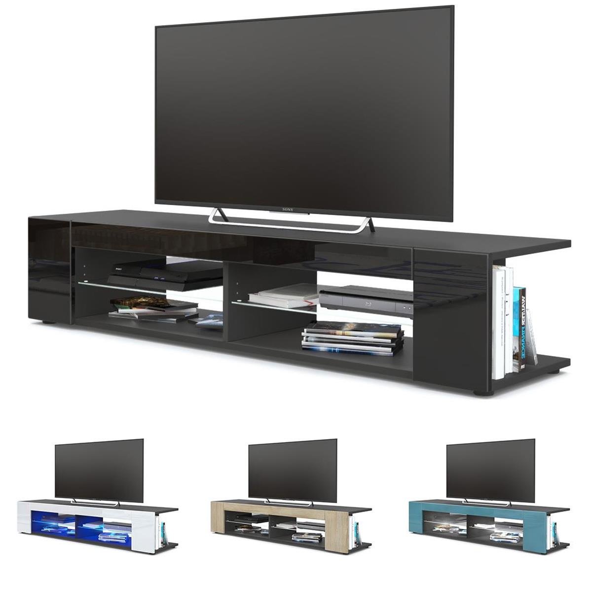 tv lowboard board schrank m bel tisch fernsehtisch movie in schwarz ebay. Black Bedroom Furniture Sets. Home Design Ideas