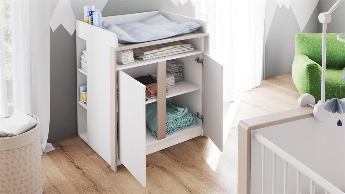 babyzimmer kinderzimmer schrank bett wickelkommode babym bel nandini set 1 wei ebay. Black Bedroom Furniture Sets. Home Design Ideas