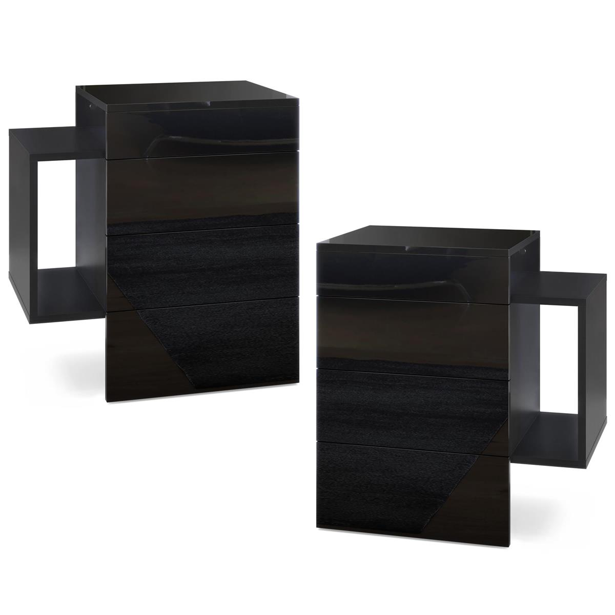 Table de chevet de nuit commode queens en noir haute - Table de nuit haute ...