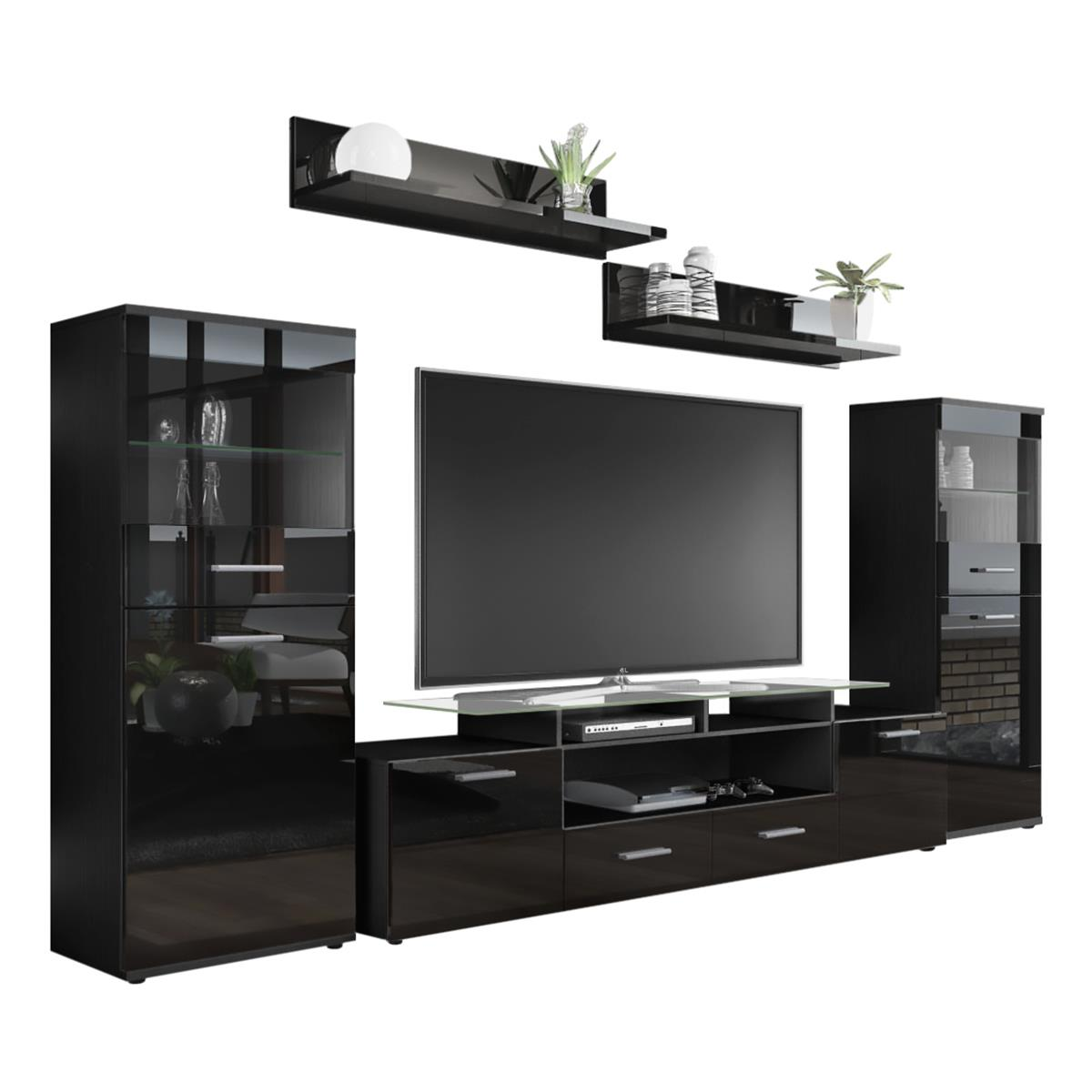 almada v2 wohnwand in hochglanz mit led beleuchtung. Black Bedroom Furniture Sets. Home Design Ideas