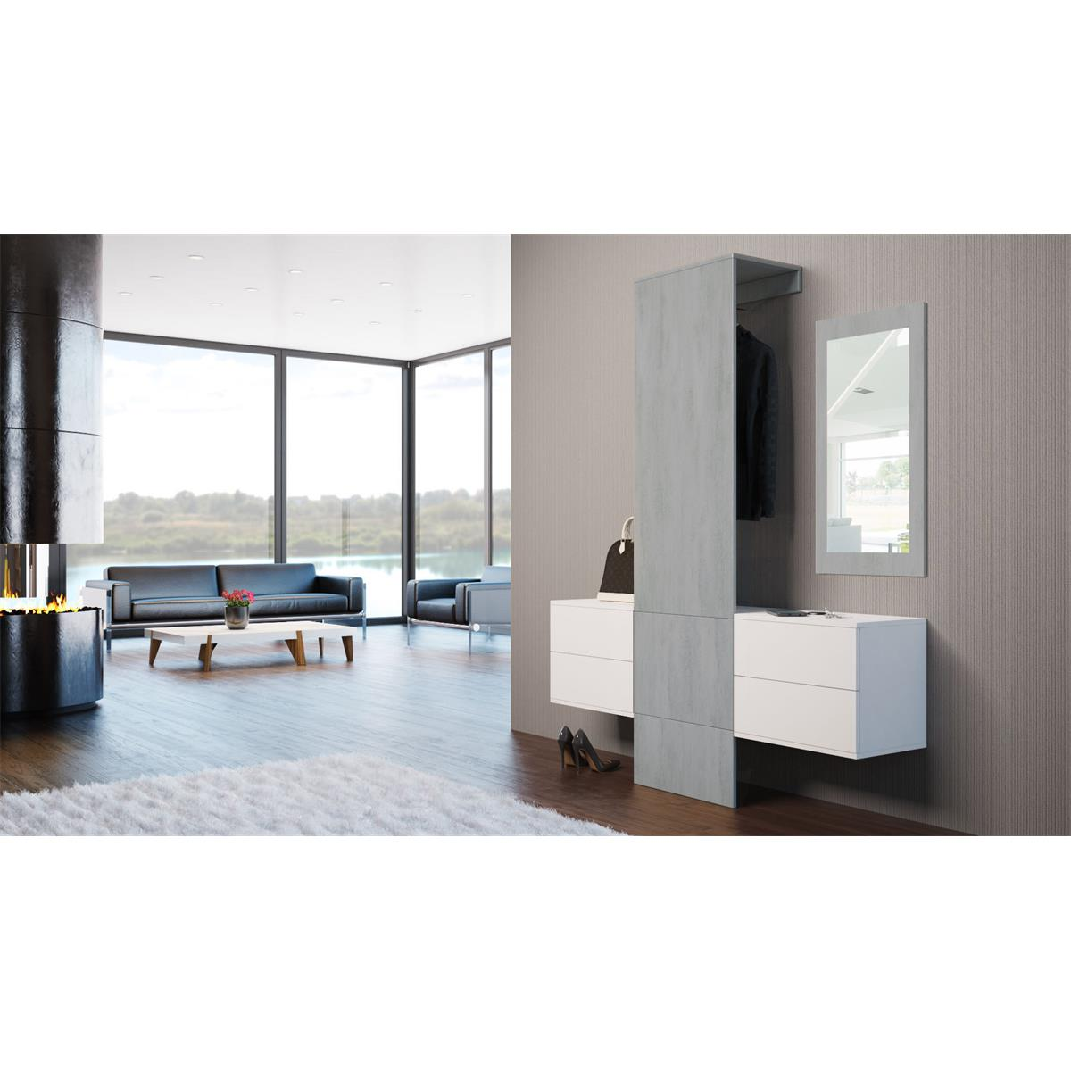 garderobe carlton set 3 beton oxid spiegel beton. Black Bedroom Furniture Sets. Home Design Ideas