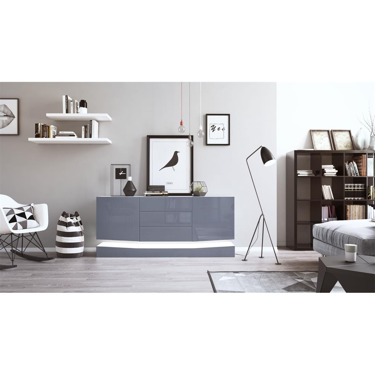 sideboard city mit sockel und led beleuchtung. Black Bedroom Furniture Sets. Home Design Ideas