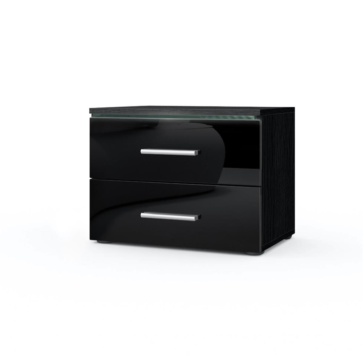 nachtkonsole faro mit led glasleiste 2 schubladen. Black Bedroom Furniture Sets. Home Design Ideas