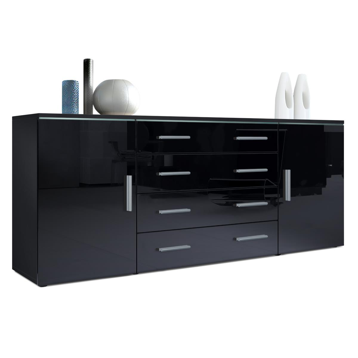 sideboard faro v2 in hochglanz mit led zierglasleiste. Black Bedroom Furniture Sets. Home Design Ideas