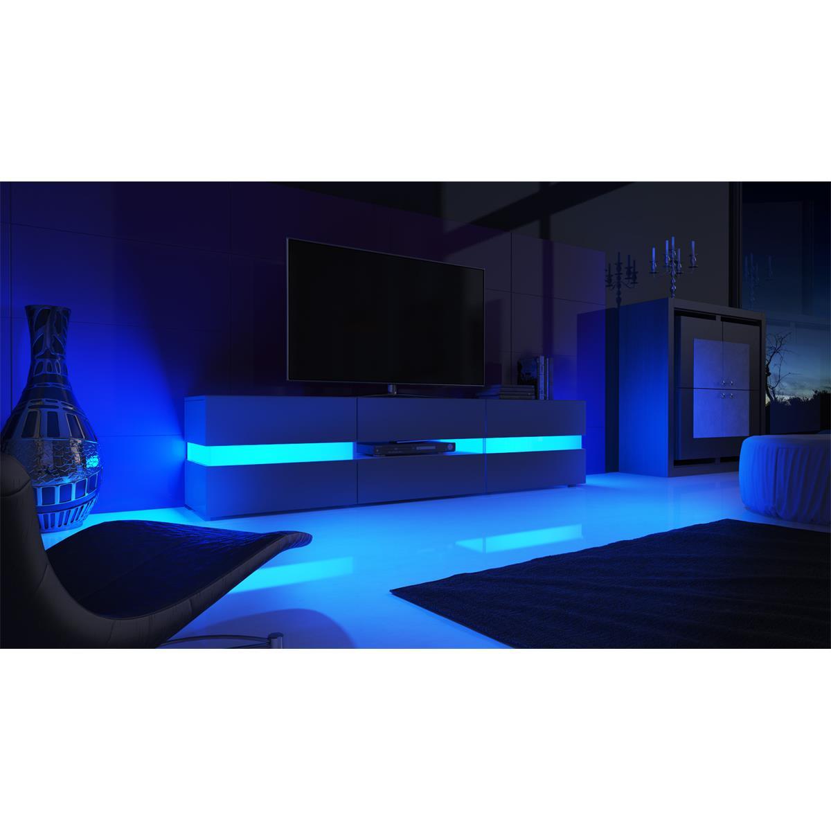 flow tv board ambient light mit lounge feeling. Black Bedroom Furniture Sets. Home Design Ideas