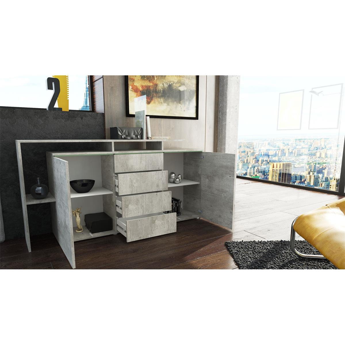 sideboard lissabon mit regalaufbau glaselemente led. Black Bedroom Furniture Sets. Home Design Ideas