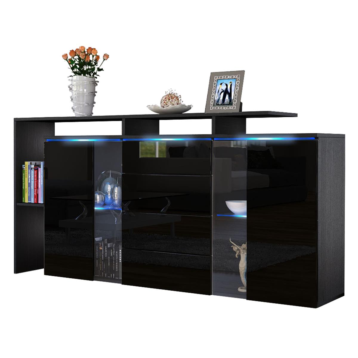 sideboard schwarz matt. Black Bedroom Furniture Sets. Home Design Ideas