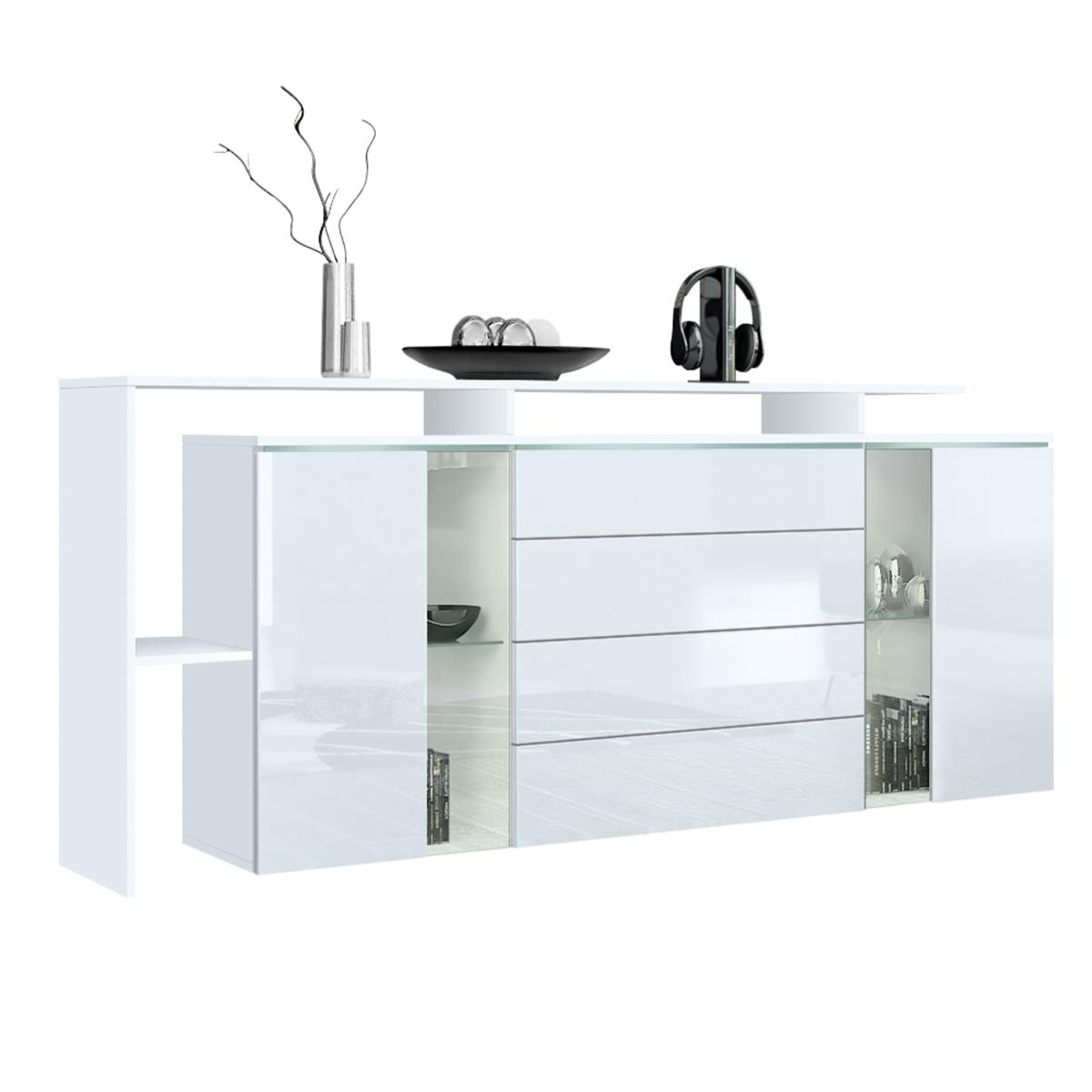 sideboard lissabon v2 mit regalaufbau glaselemente. Black Bedroom Furniture Sets. Home Design Ideas