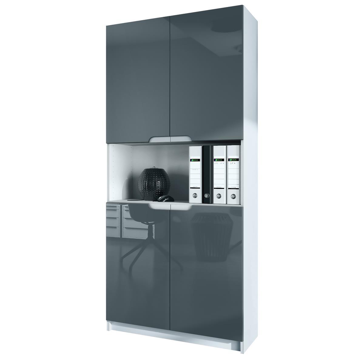 Büromöbel weiß grau  Regal Büroschrank Logan | Höhe 185 cm | Vladon Möbel