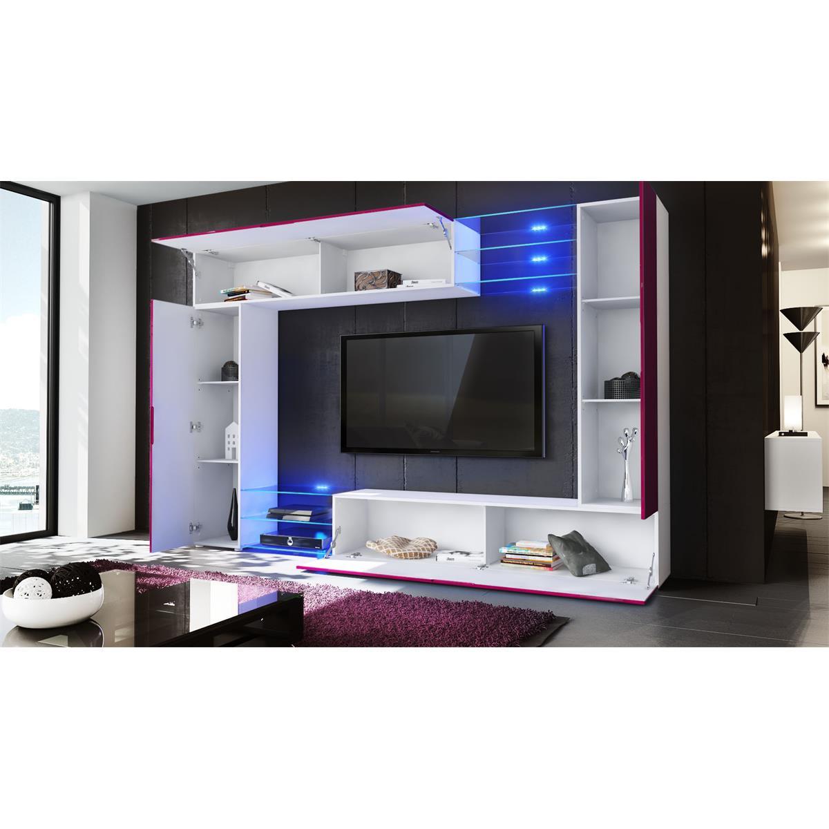 mirage wohnwand in moderner rahmenoptik mit led beleuchtung. Black Bedroom Furniture Sets. Home Design Ideas