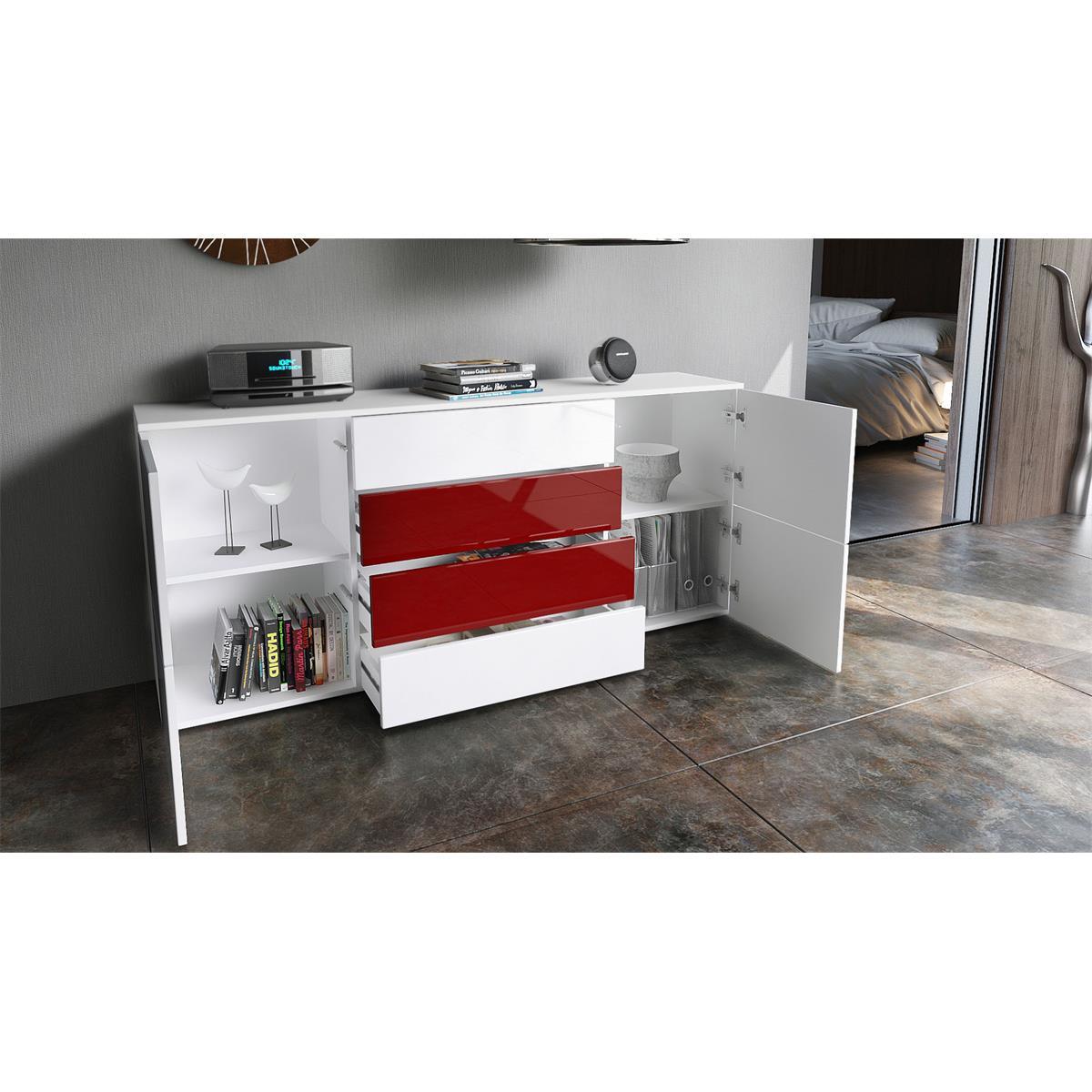 Sideboard rova mit 4 schubk sten und 2 f chern hinter 4 t ren for Farbmuster wohnzimmer