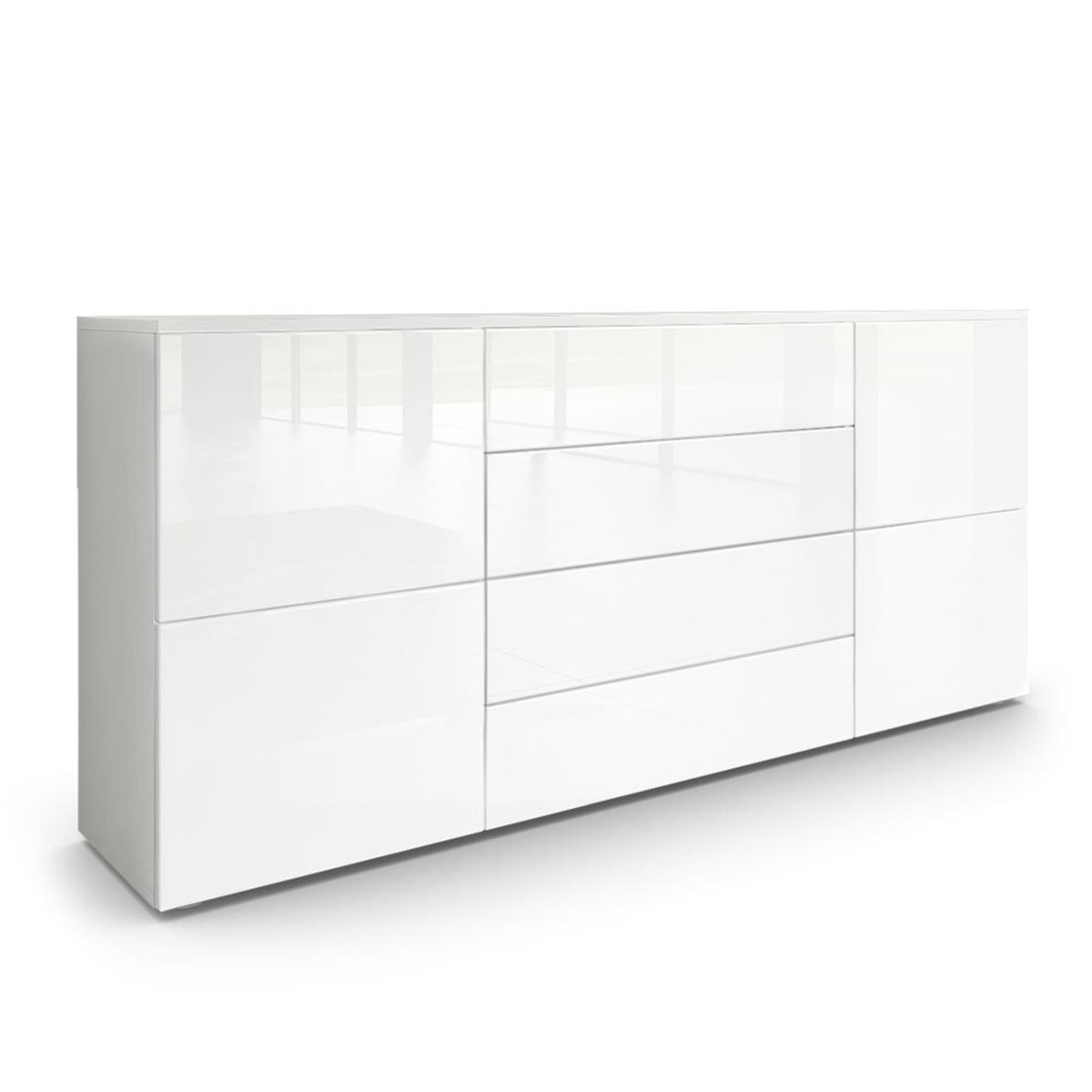 white gloss nightstand sideboard rova mit 4 schubksten. Black Bedroom Furniture Sets. Home Design Ideas