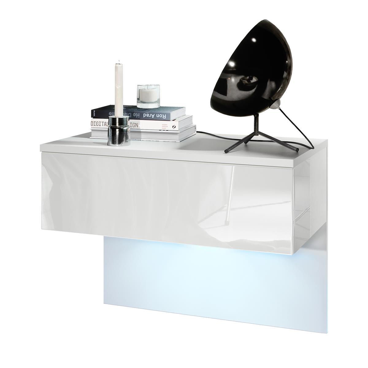 Vladon Nachttisch Nachtkonsole Sleep, Korpus in Weiß matt