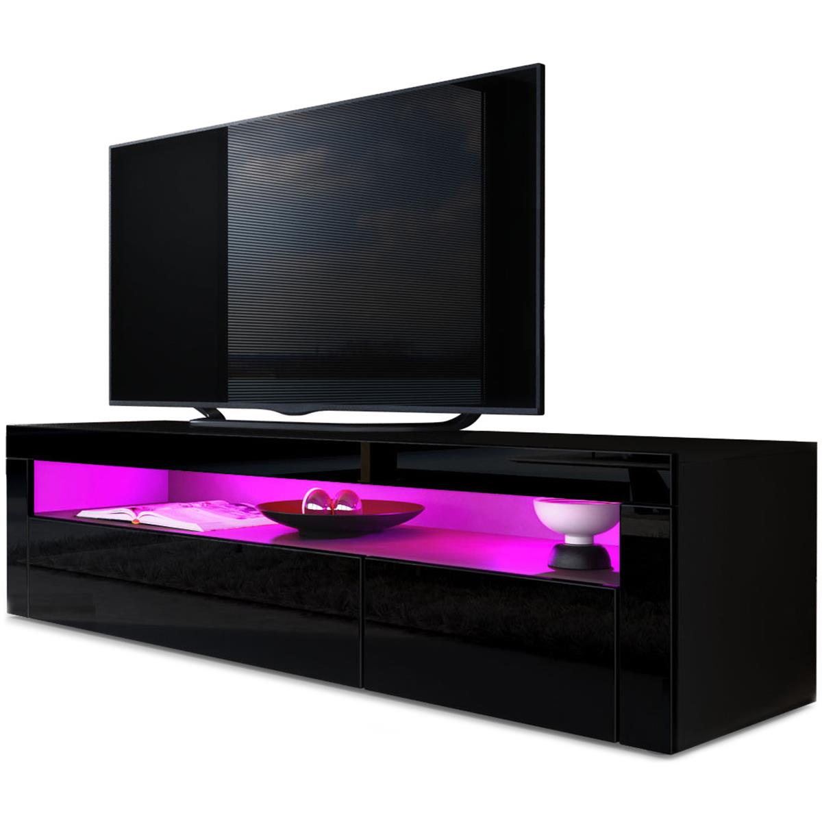 tv board lowboard valencia korpus in schwarz matt front in schwarz hochglanz mit rahmen in. Black Bedroom Furniture Sets. Home Design Ideas