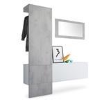 Garderobe Carlton Set 4 Beton Oxid, Spiegel Beton