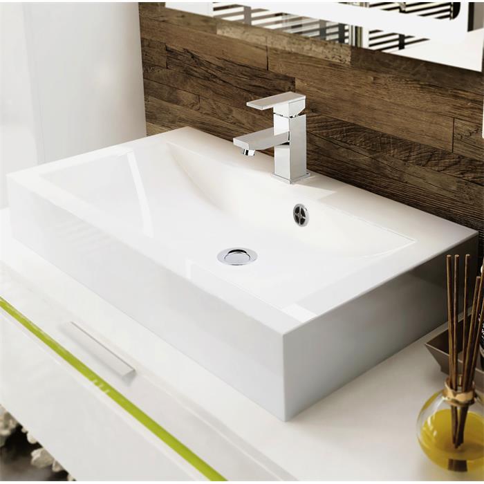 Badezimmer Schrank Waschtisch Waschbecken Unterschrank Spiegel LED Aloha V2  Weiß