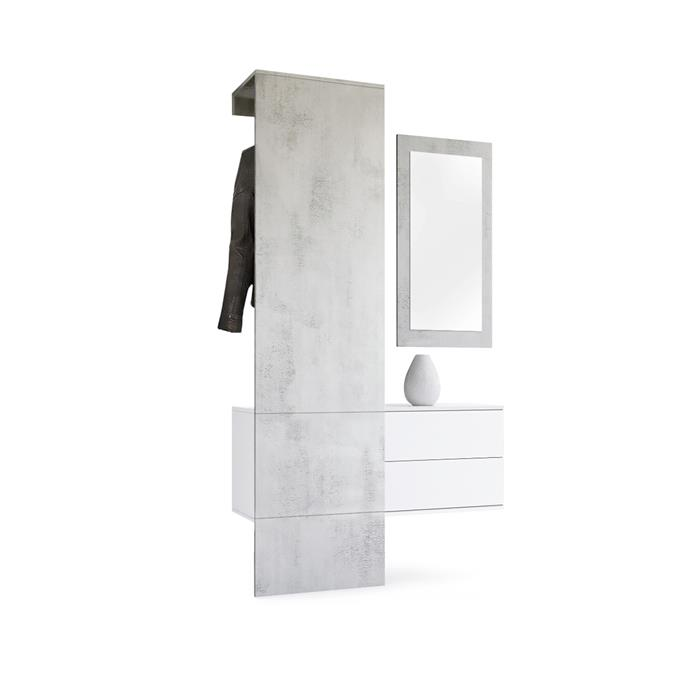 hallway furniture set wall coat rack cabinet carlton 2 concrete grey oxid optic ebay