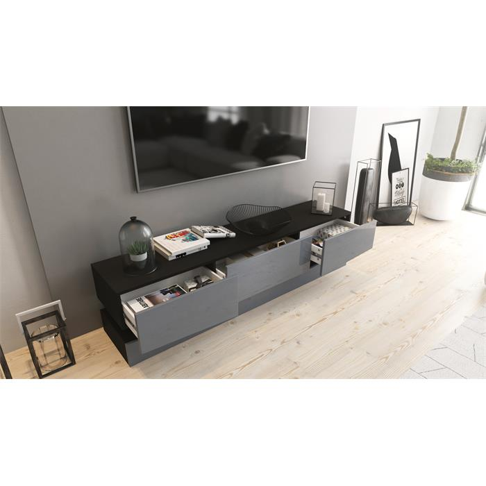 tv lowboard board schrank tisch m bel city schwarz hochglanz naturt ne ebay. Black Bedroom Furniture Sets. Home Design Ideas