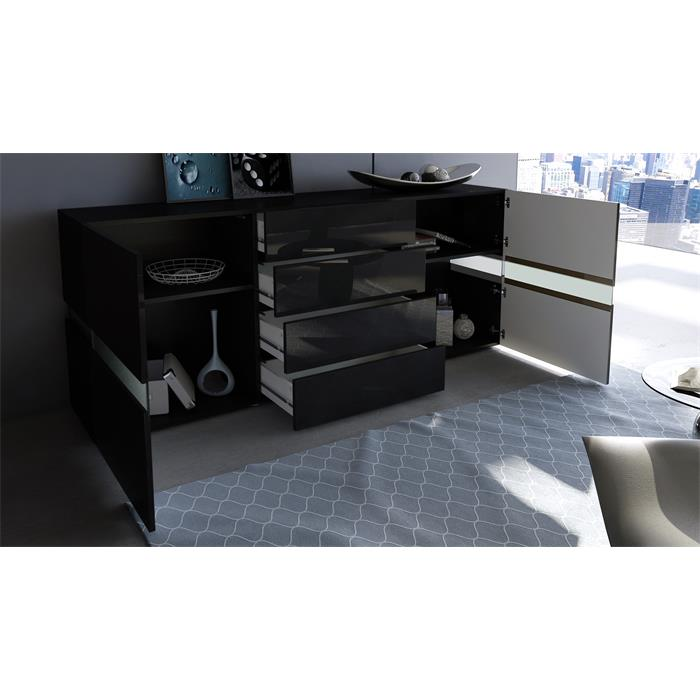 sideboard kommode flow in wei oder schwarz hochglanz 177. Black Bedroom Furniture Sets. Home Design Ideas
