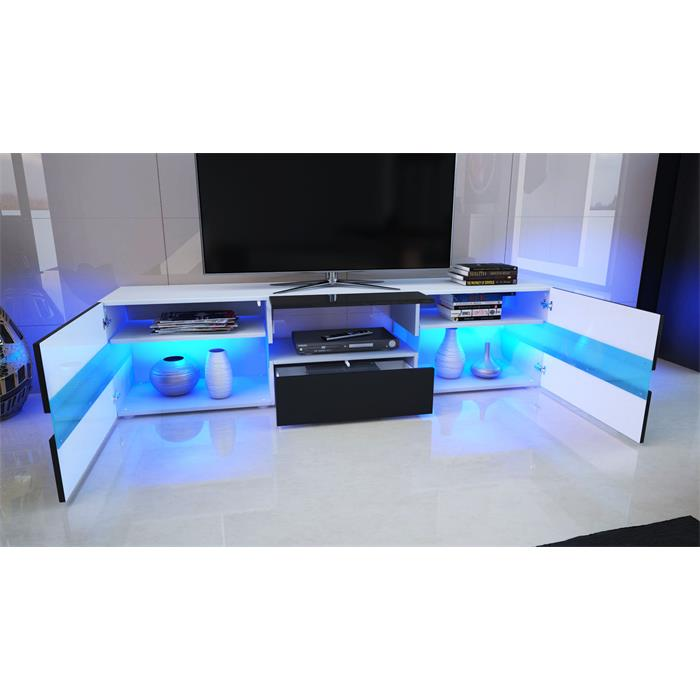tv cabinet stand board unit lowboard rack flow in white or. Black Bedroom Furniture Sets. Home Design Ideas