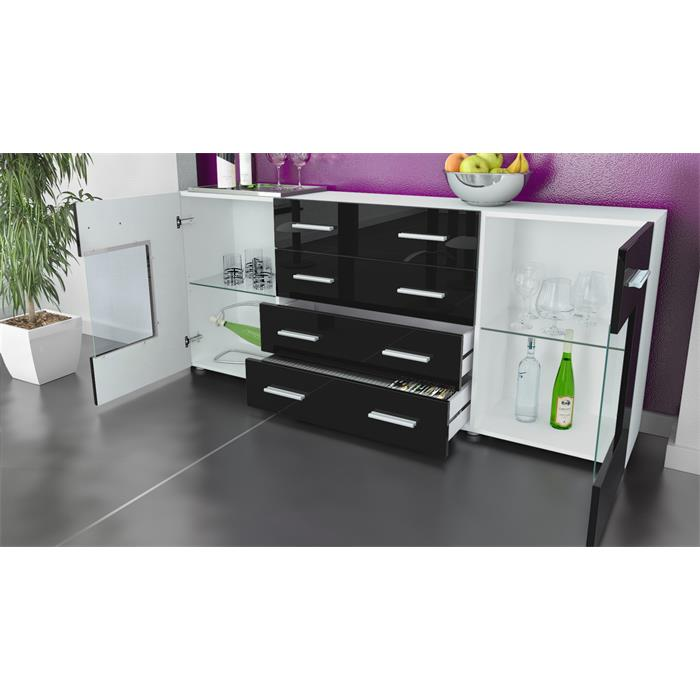 sideboard tv board anrichte kommode glas schrank m bel gr mitz v2 wei hochglanz ebay. Black Bedroom Furniture Sets. Home Design Ideas