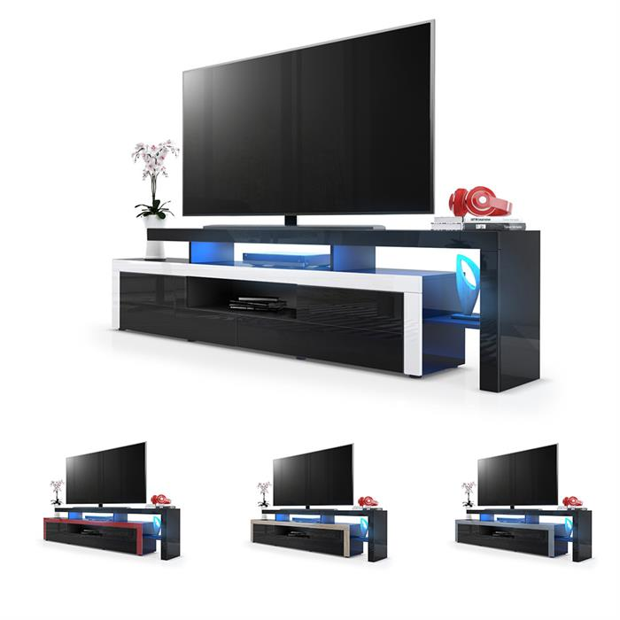tv lowboard board schrank fernsehtisch leon in schwarz hochglanz naturt ne ebay. Black Bedroom Furniture Sets. Home Design Ideas