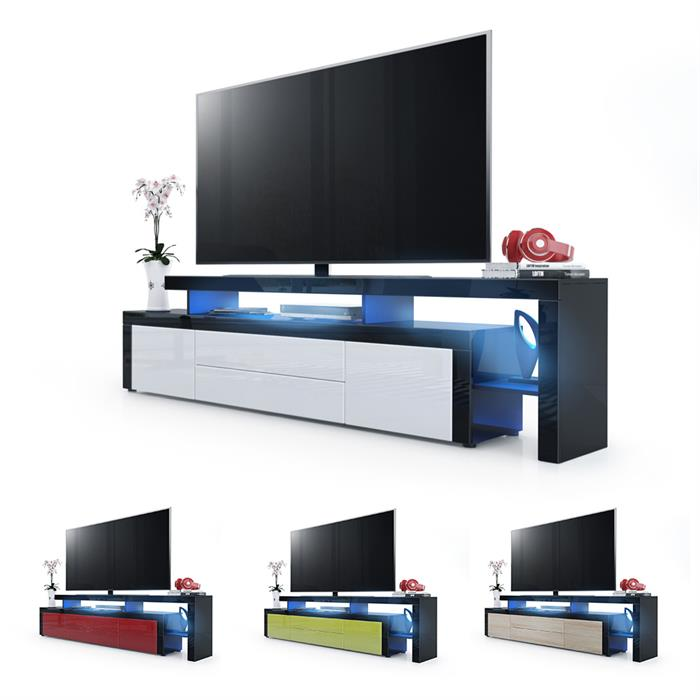 tv lowboard board schrank fernsehtisch leon v2 schwarz hochglanz naturt ne ebay. Black Bedroom Furniture Sets. Home Design Ideas
