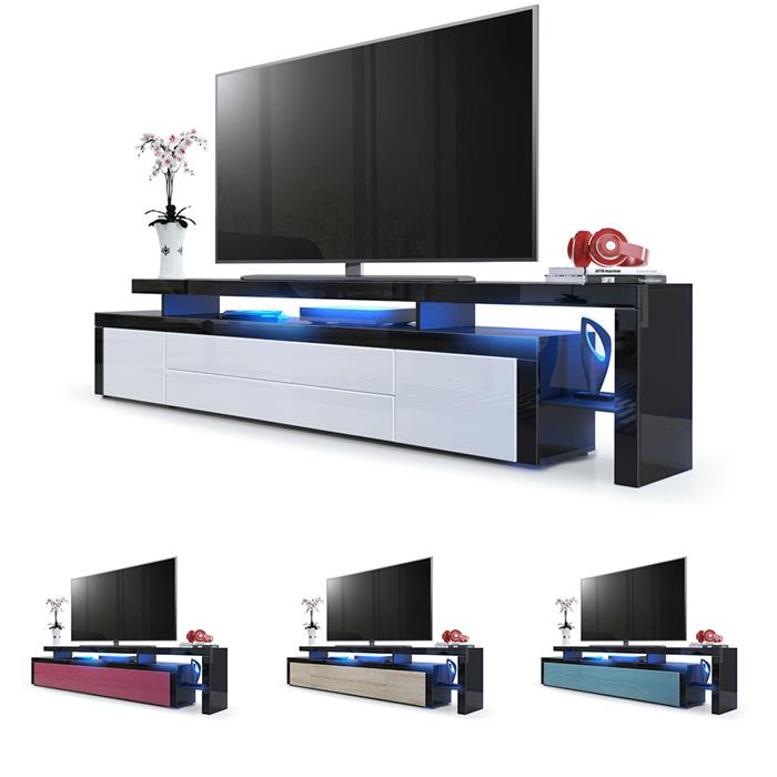 tv lowboard board schrank fernsehtisch leon v3 schwarz hochglanz naturt ne ebay. Black Bedroom Furniture Sets. Home Design Ideas