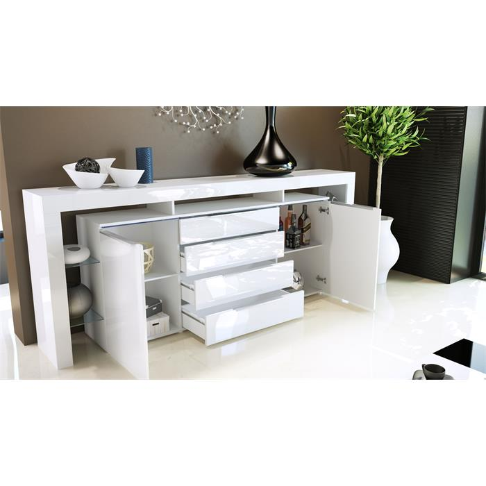 sideboard tv board anrichte kommode lima nova v2 in wei hochglanz naturt ne ebay. Black Bedroom Furniture Sets. Home Design Ideas