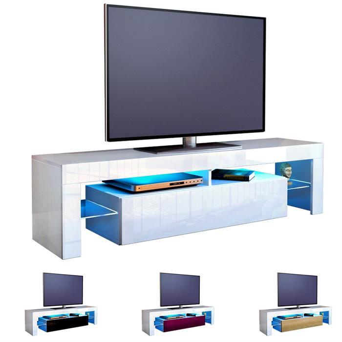 tv lowboard board schrank tisch m bel regal lima in wei hochglanz naturt ne ebay. Black Bedroom Furniture Sets. Home Design Ideas