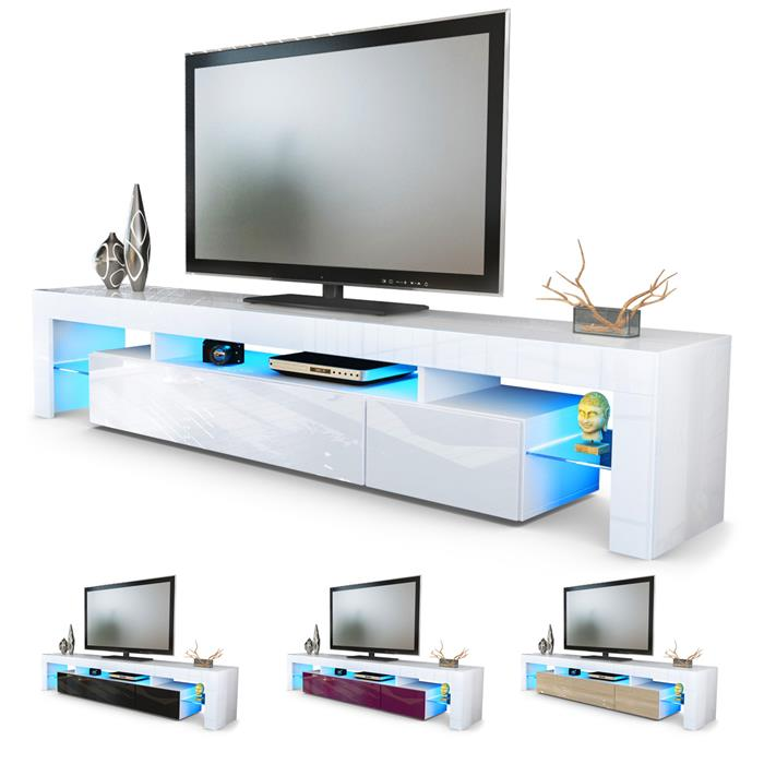 tv board lowboard cabinet tv table lima v2 in white high gloss natural tones ebay
