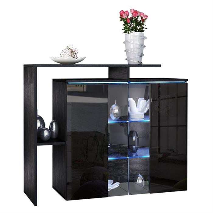 kommode lissabon mit regalaufbau glaselemente led. Black Bedroom Furniture Sets. Home Design Ideas
