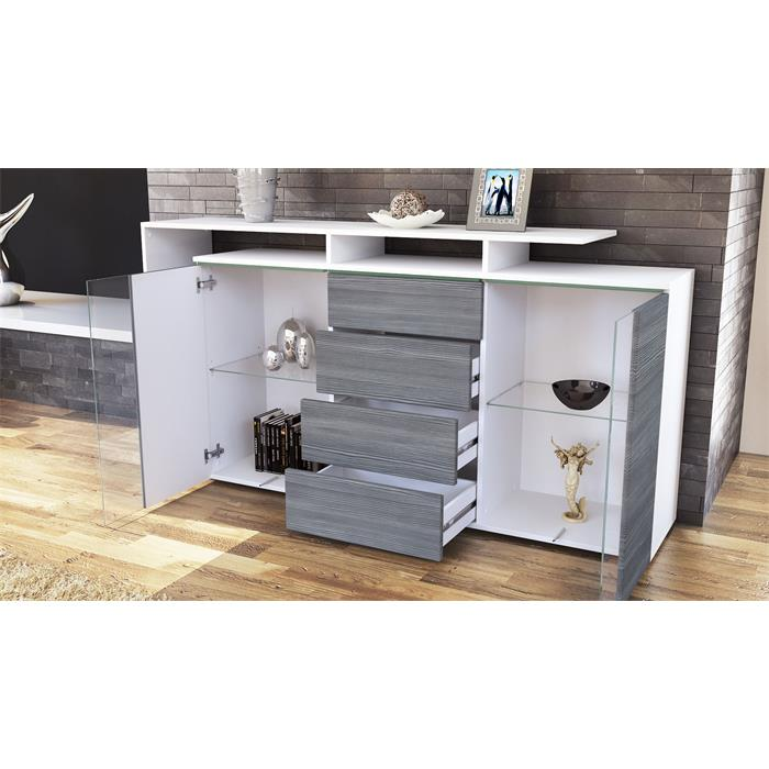 sideboard tv board anrichte kommode lissabon wei in hochglanz naturt nen ebay. Black Bedroom Furniture Sets. Home Design Ideas