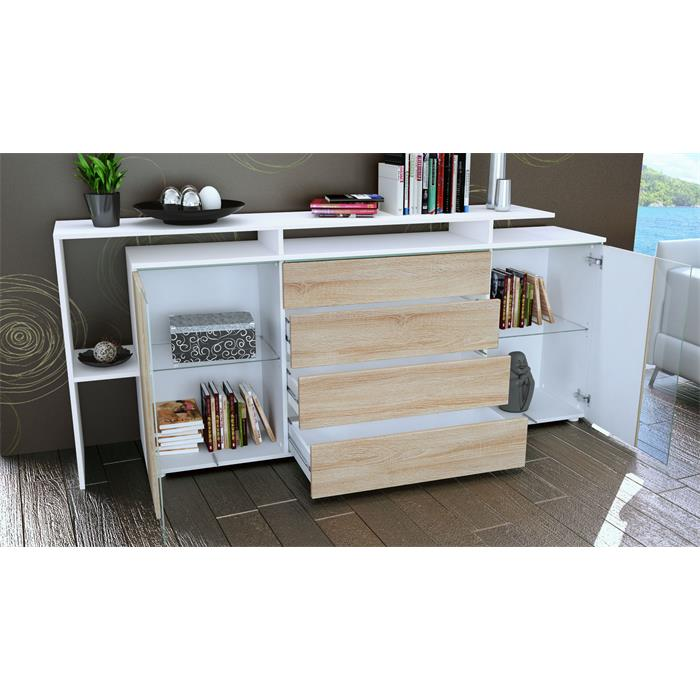 sideboard tv board anrichte kommode lissabon v2 wei in hochglanz naturt nen ebay. Black Bedroom Furniture Sets. Home Design Ideas