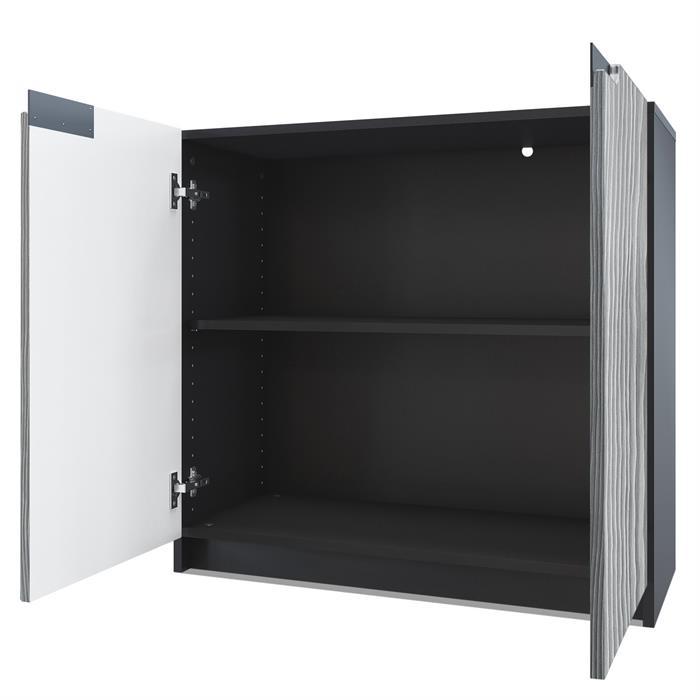 Kommode b roschrank aktenschrank b rom bel logan schwarz hochglanz naturdekor ebay - Kommode schwarz matt ...