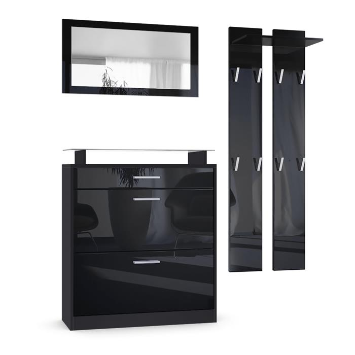 garderobenset loret mini praktische flurm bel in hochglanz. Black Bedroom Furniture Sets. Home Design Ideas