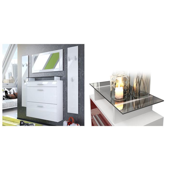 garderobenset flur garderobe diele set malea wei spiegel schuhschrank hochglanz ebay. Black Bedroom Furniture Sets. Home Design Ideas