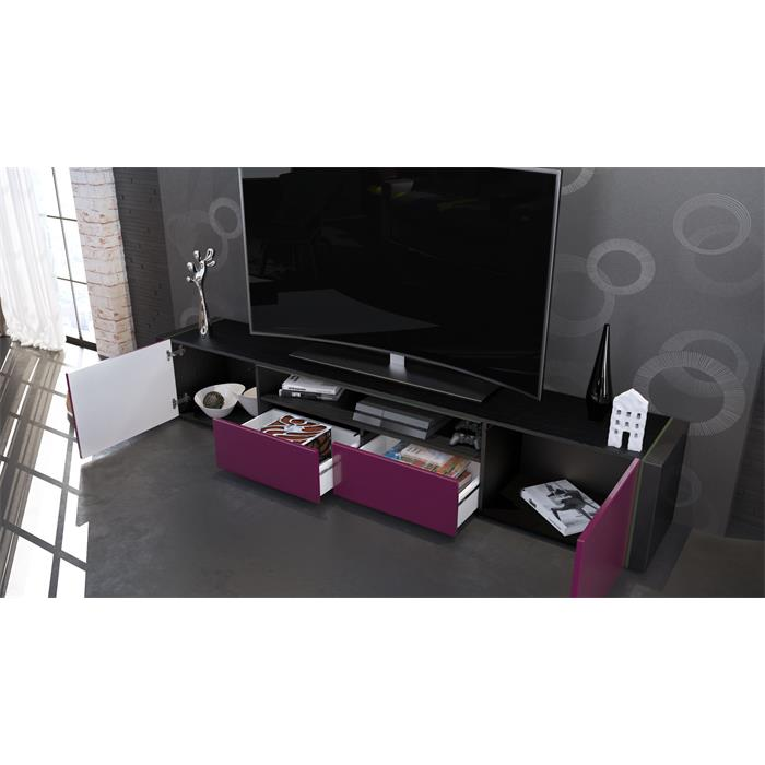tv lowboard board schrank tisch marino v2 in schwarz hochglanz naturt ne ebay. Black Bedroom Furniture Sets. Home Design Ideas