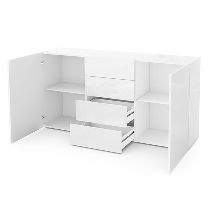 Sideboard cabinet chest of drawers massa 139 cm in white for Sideboard offen