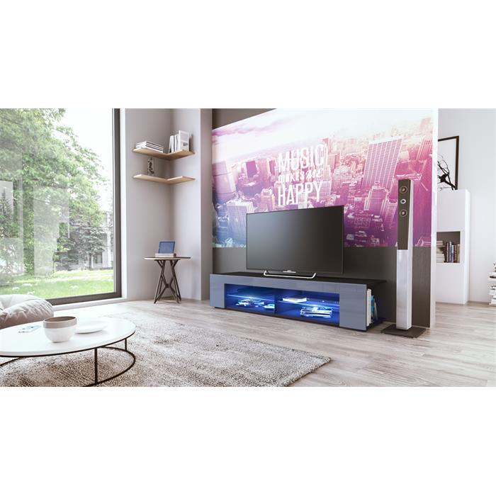 tv lowboard board schrank m bel tisch fernsehtisch movie in schwarz ebay. Black Bedroom Furniture Sets. Home Design Ideas