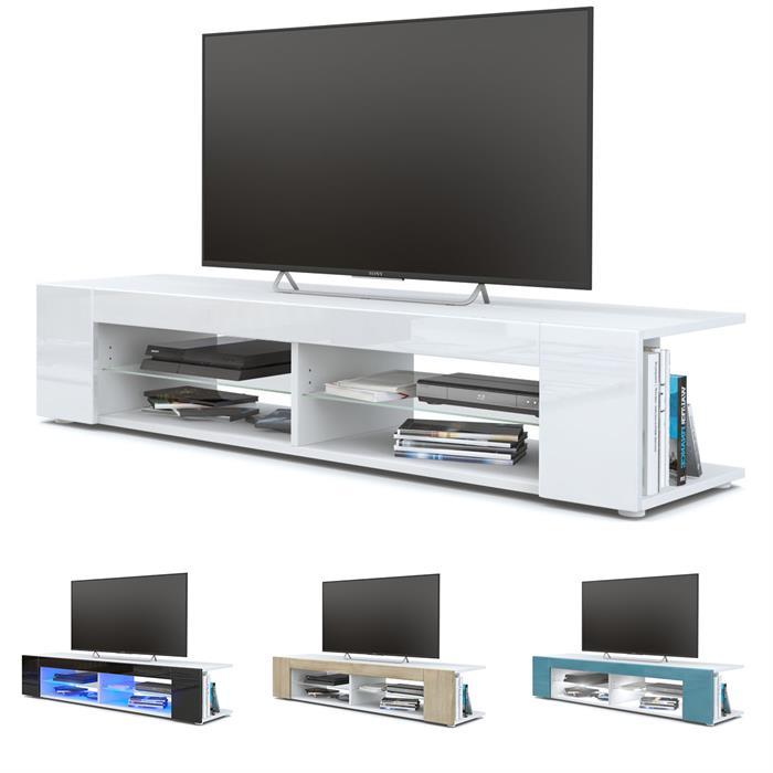 Meuble tv armoire basse movie en blanc fa ades en for Meuble tv ovio