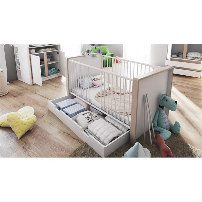 babyzimmer kinderzimmer schrank bett wickelkommode babym bel nandini set 1 wei ebay. Black Bedroom Furniture Sets. Home Design Ideas