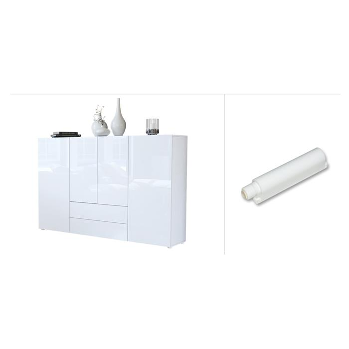highboard sideboard kommode schrank m bel anrichte tv nora in wei hochglanz ebay. Black Bedroom Furniture Sets. Home Design Ideas
