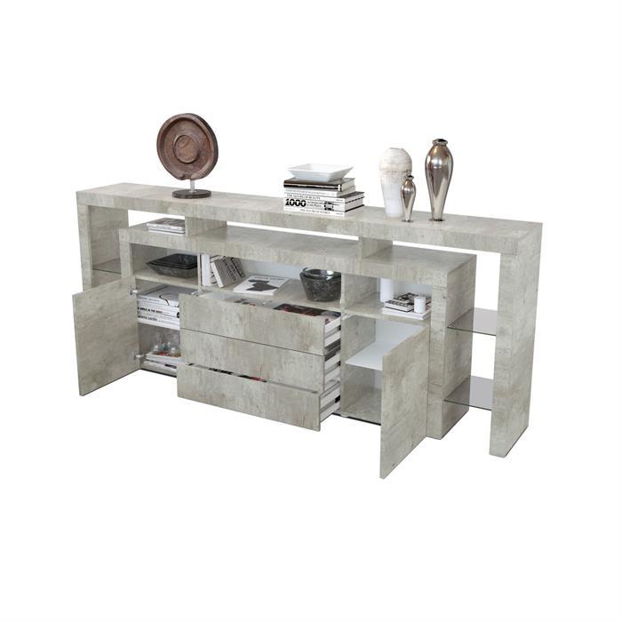 sideboard kommode anrichte highboard rosario 220 wei schwarz hochglanz beton ebay. Black Bedroom Furniture Sets. Home Design Ideas
